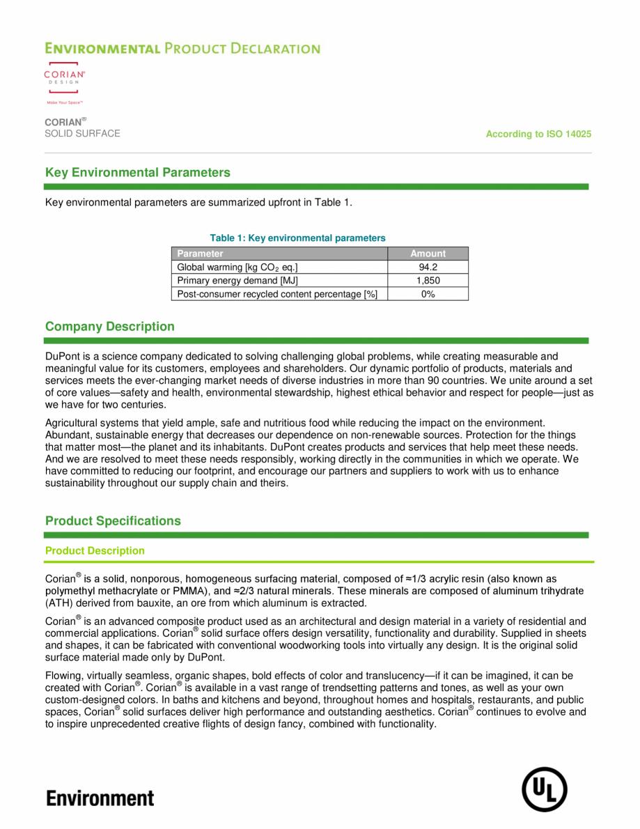 Pagina 3 - Declaratie de mediu pentru placi minerale pentru interioare CORIAN® Solid Surface ...