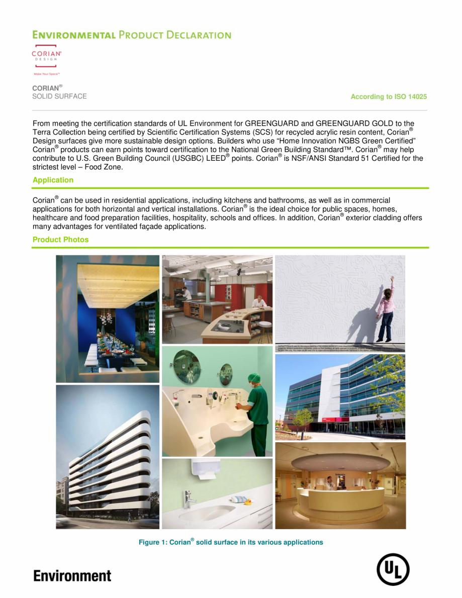 Pagina 4 - Declaratie de mediu pentru placi minerale pentru interioare CORIAN® Solid Surface ...