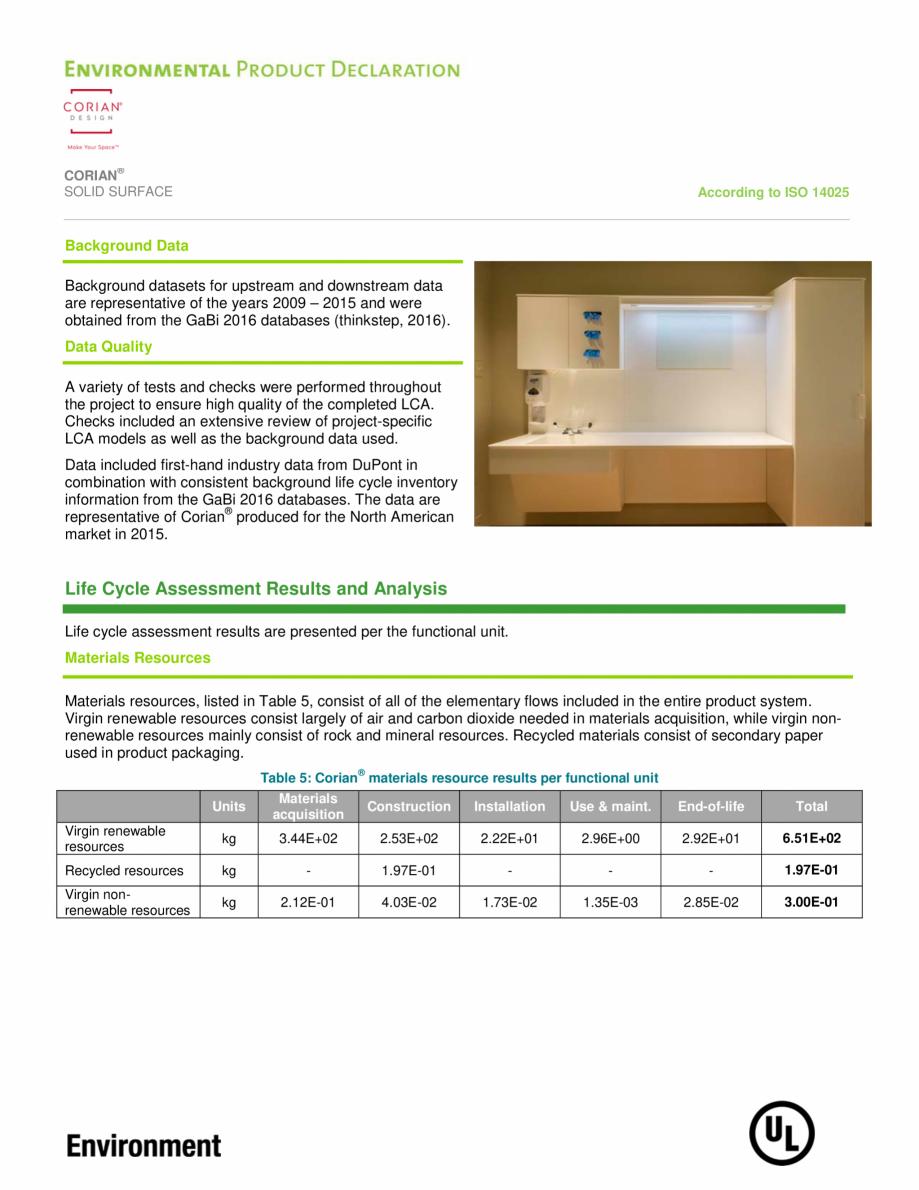Pagina 9 - Declaratie de mediu pentru placi minerale pentru interioare CORIAN® Solid Surface ...