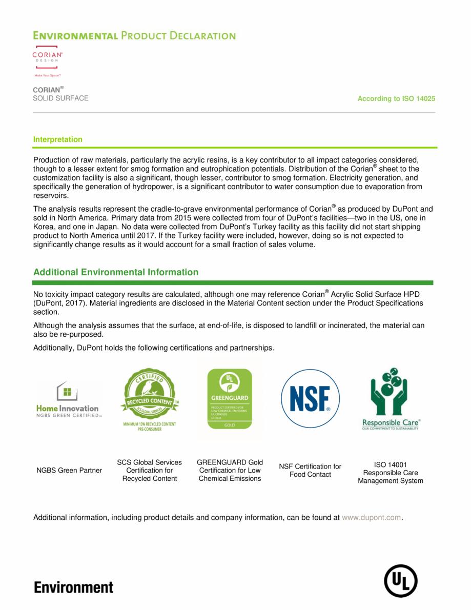 Pagina 12 - Declaratie de mediu pentru placi minerale pentru interioare CORIAN® Solid Surface ...