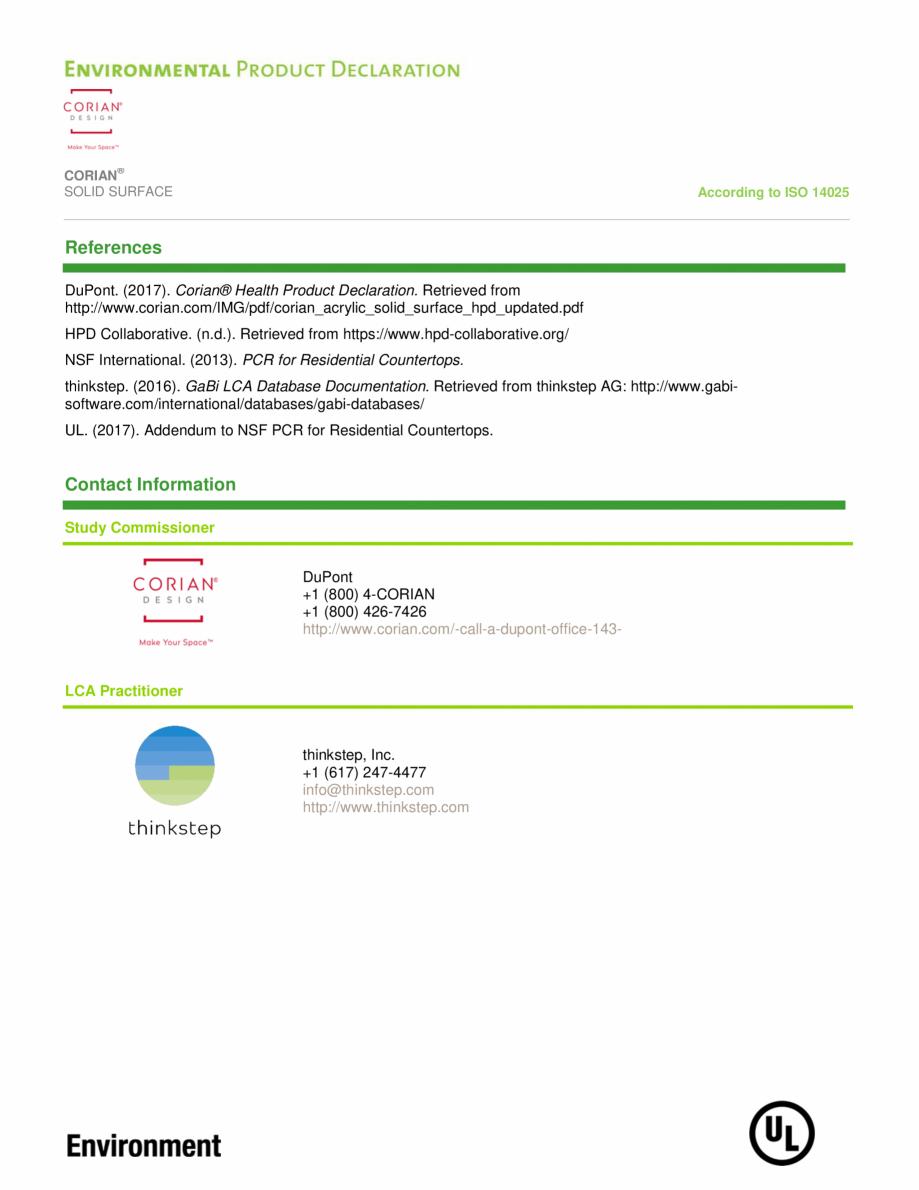 Pagina 13 - Declaratie de mediu pentru placi minerale pentru interioare CORIAN® Solid Surface ...