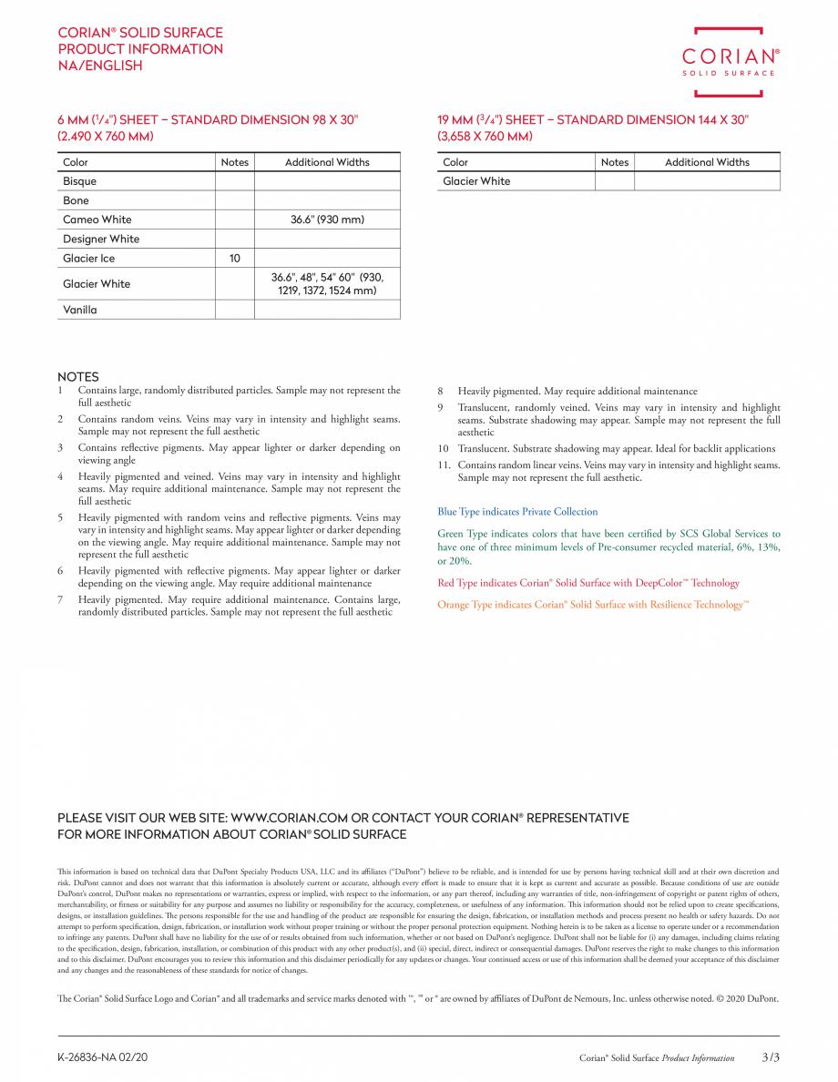 Pagina 3 - Optiuni de culori pentru placi minerale pentru interioare CORIAN® Solid Surface ...