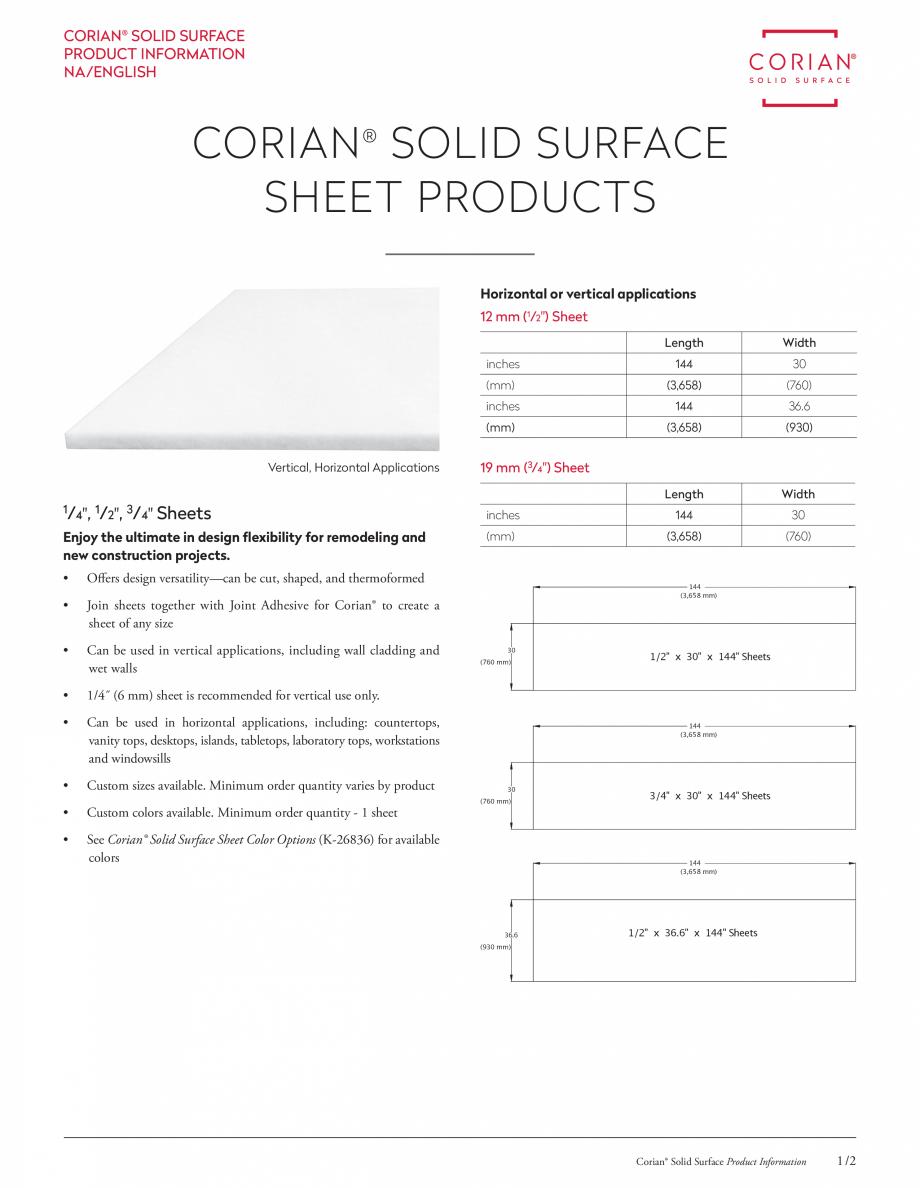 Pagina 1 - Dimensiunile disponibile pentru placile minerale pentru interioare CORIAN® Solid...