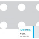 Perforatie rotunda R20 U48.5 - Perforatii rotunde intre 12 si 30 mm