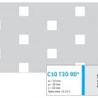 Perforatie patrata C10 T30 90 ° - Perforatii patrate intre 3 si 10 mm