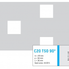 Perforatie patrata C20 T50 90 ° - Perforatii patrate intre 15 si 25 mm
