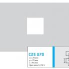 Perforatie patrata C25 U70 - Perforatii patrate intre 15 si 25 mm