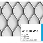 Tabla expandata 43  x 20  x 2.5 - Grilaje din tabla expandata - romb