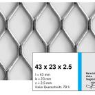 Tabla expandata 43  x 23  x 2.5 - Grilaje din tabla expandata - romb