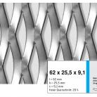 Tabla expandata 62 x 25.5 x 9.1 - Grilaje din tabla expandata - romb