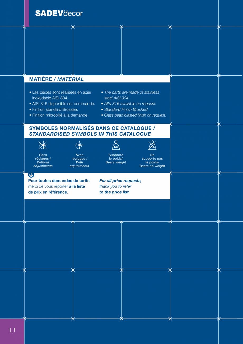 Pagina 1 - Sisteme de fixare sticla SADEV DECOR Fisa tehnica Engleza, Franceza MATIÈRE / MATERIAL...