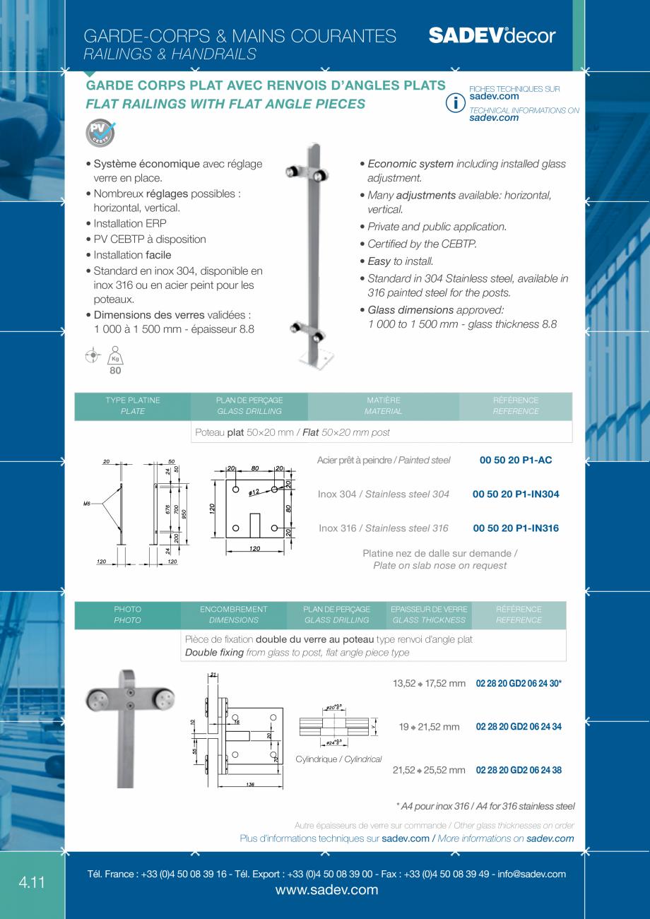 Pagina 1 - Sisteme de prindere pentru balustrade SADEV DECOR Fisa tehnica Engleza, Franceza...