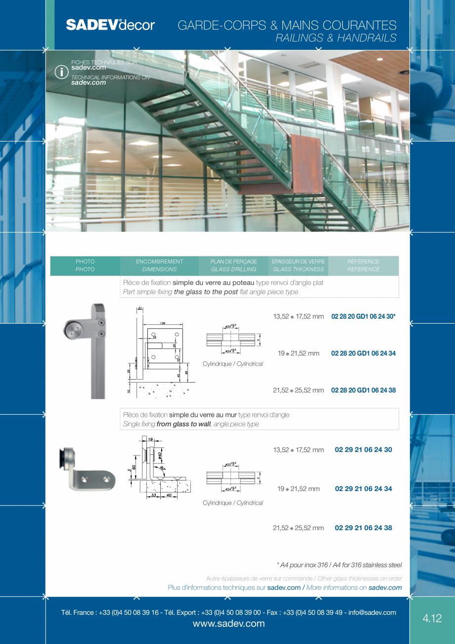 Pagina 2 - Sisteme de prindere pentru balustrade SADEV DECOR Fisa tehnica Engleza, Franceza ng ...
