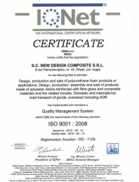 Certificat ISO SRAC-IQNET 9001-2008