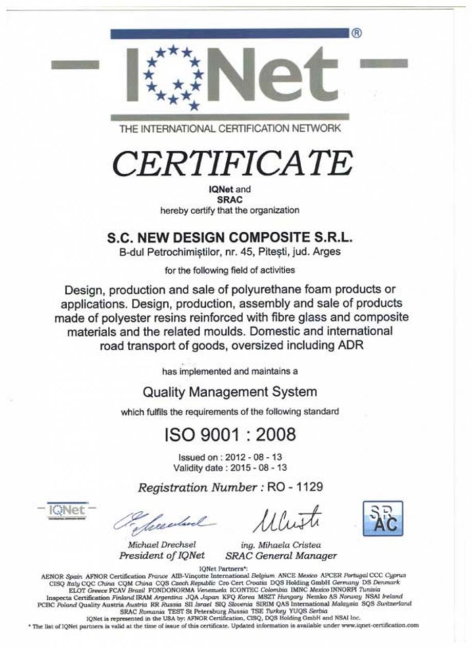 Pagina 1 - Certificat ISO SRAC-IQNET 9001-2008 NEW DESIGN COMPOSITE Certificare produs Romana