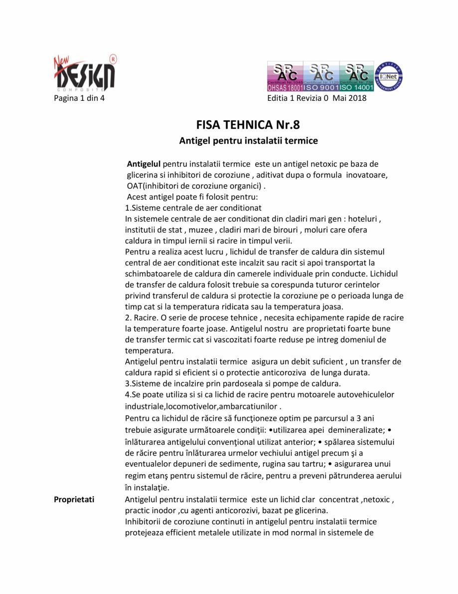 Pagina 1 - Fisa cu date de securitate NEW DESIGN COMPOSITE Antigel instalatii termice Fisa tehnica...