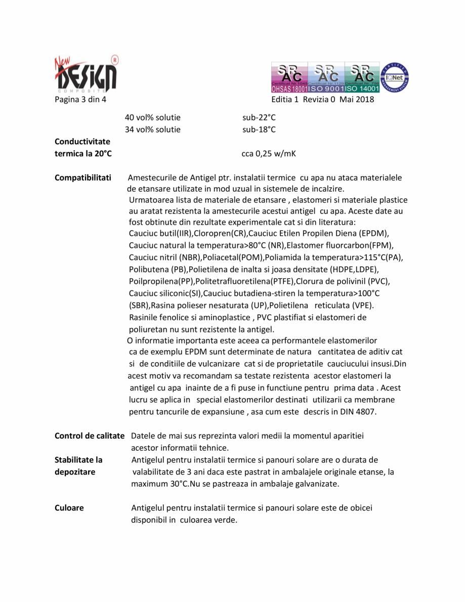 Pagina 3 - Fisa cu date de securitate NEW DESIGN COMPOSITE Antigel instalatii termice Fisa tehnica...