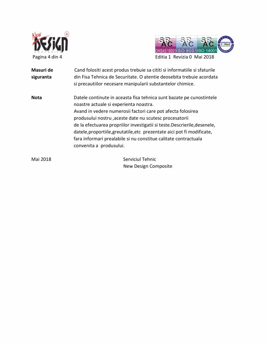 Pagina 4 - Fisa cu date de securitate NEW DESIGN COMPOSITE Antigel instalatii termice Fisa tehnica...