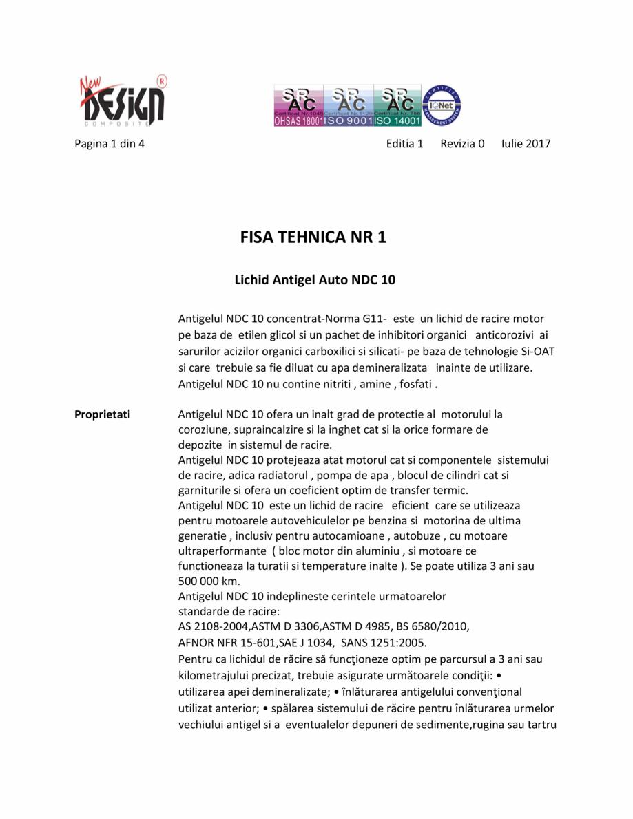 Pagina 1 - Antigel auto concentrat NEW DESIGN COMPOSITE NDC 10, norma G11 Fisa tehnica Romana Pagina...
