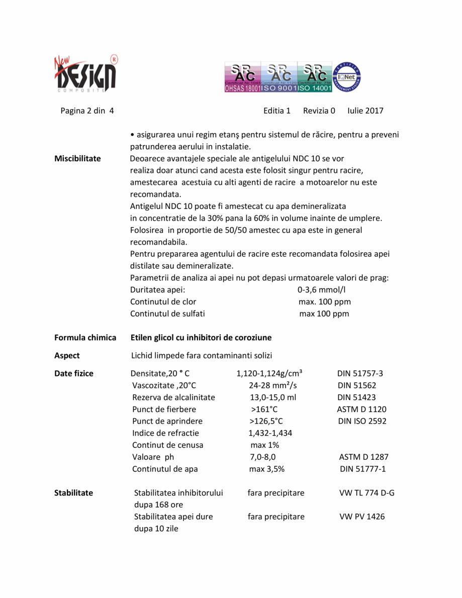 Pagina 2 - Antigel auto concentrat NEW DESIGN COMPOSITE NDC 10, norma G11 Fisa tehnica Romana...