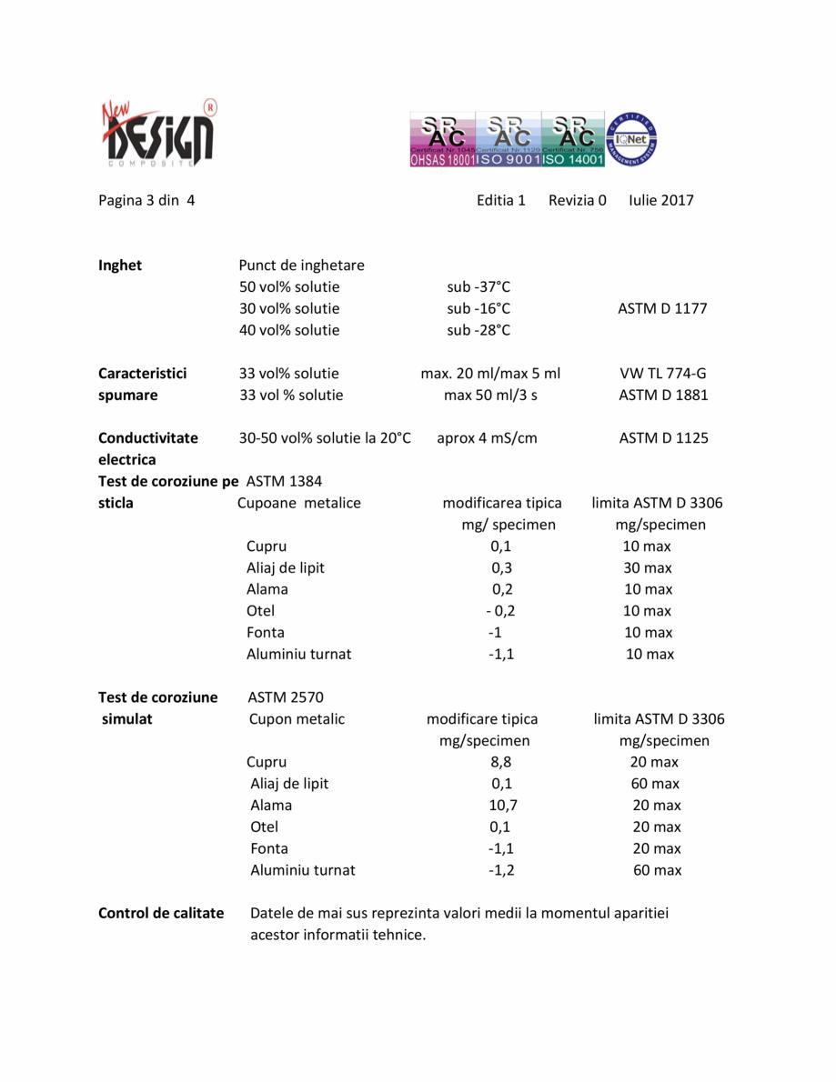 Pagina 3 - Antigel auto concentrat NEW DESIGN COMPOSITE NDC 10, norma G11 Fisa tehnica Romana e...