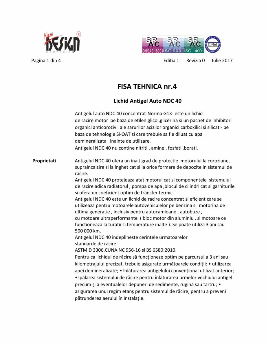 Pagina 1 - Antigel auto concentrat NEW DESIGN COMPOSITE NDC 40, norma G13 Fisa tehnica Romana Pagina...
