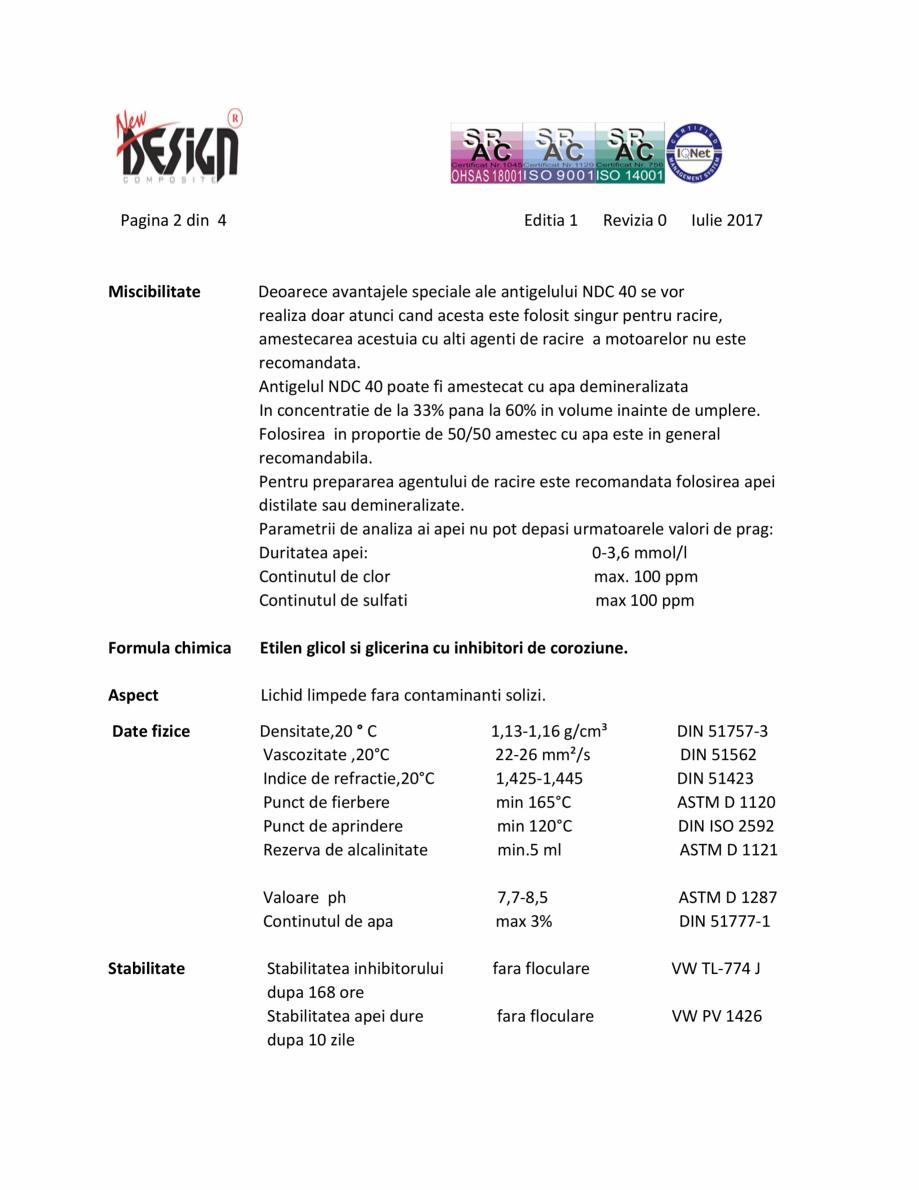 Pagina 2 - Antigel auto concentrat NEW DESIGN COMPOSITE NDC 40, norma G13 Fisa tehnica Romana a...