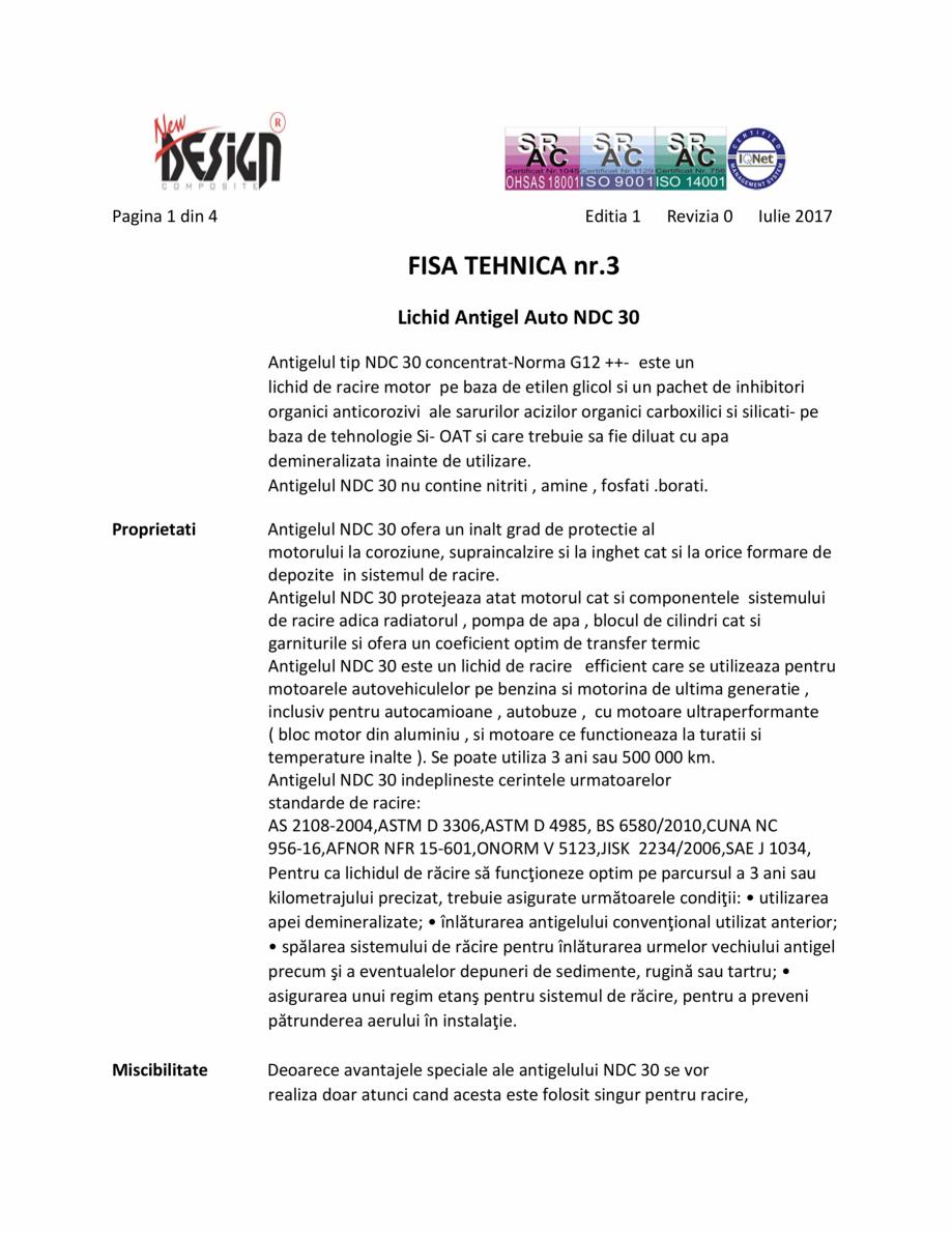 Pagina 1 - Antigel auto concentrat NEW DESIGN COMPOSITE NDC 30, norma G12++ Fisa tehnica Romana...