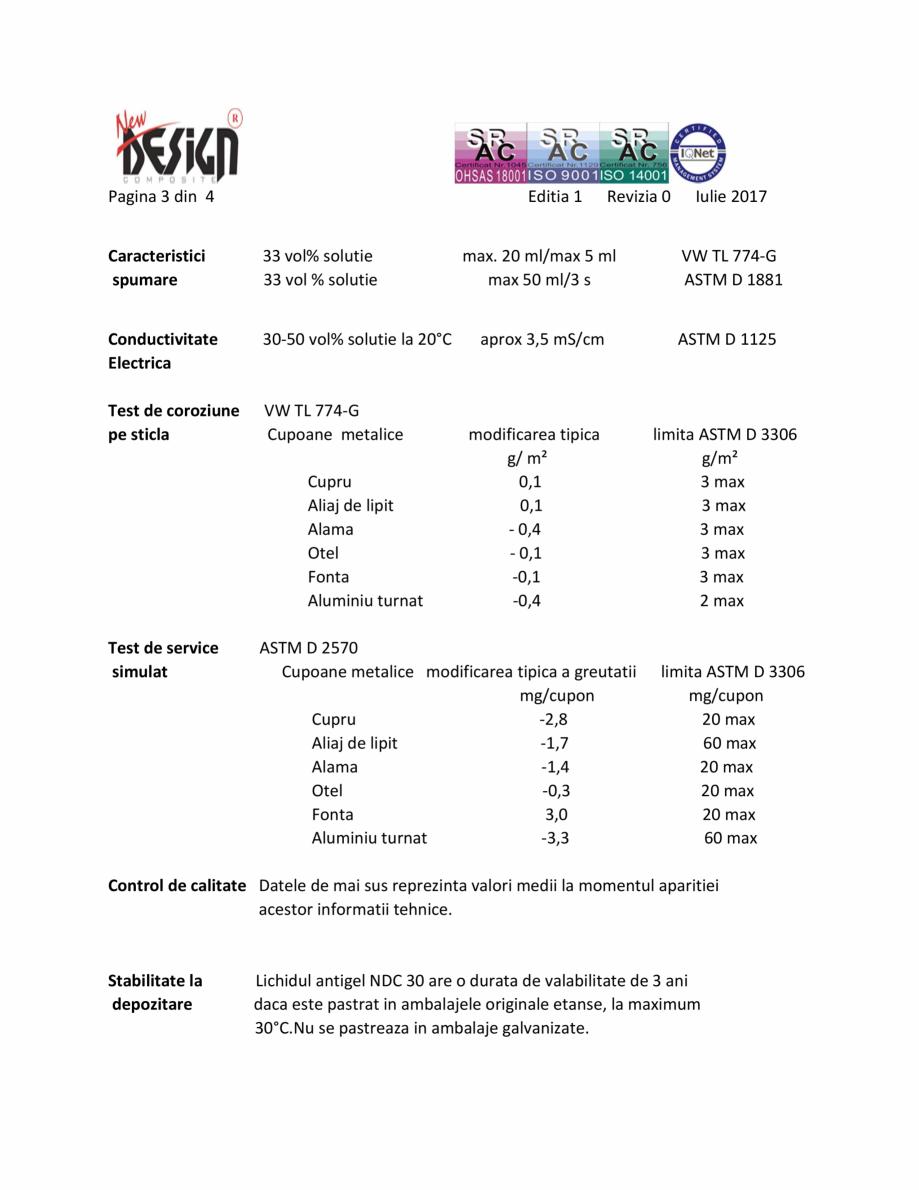 Pagina 3 - Antigel auto concentrat NEW DESIGN COMPOSITE NDC 30, norma G12++ Fisa tehnica Romana ...