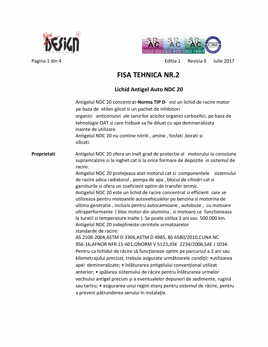 Pagina 1 - Antigel auto NDC 20, Tip D NEW DESIGN COMPOSITE Antigel tip D Fisa tehnica Romana Pagina ...