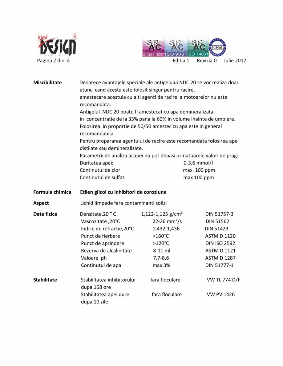 Pagina 2 - Antigel auto NDC 20, Tip D NEW DESIGN COMPOSITE Antigel tip D Fisa tehnica Romana ...