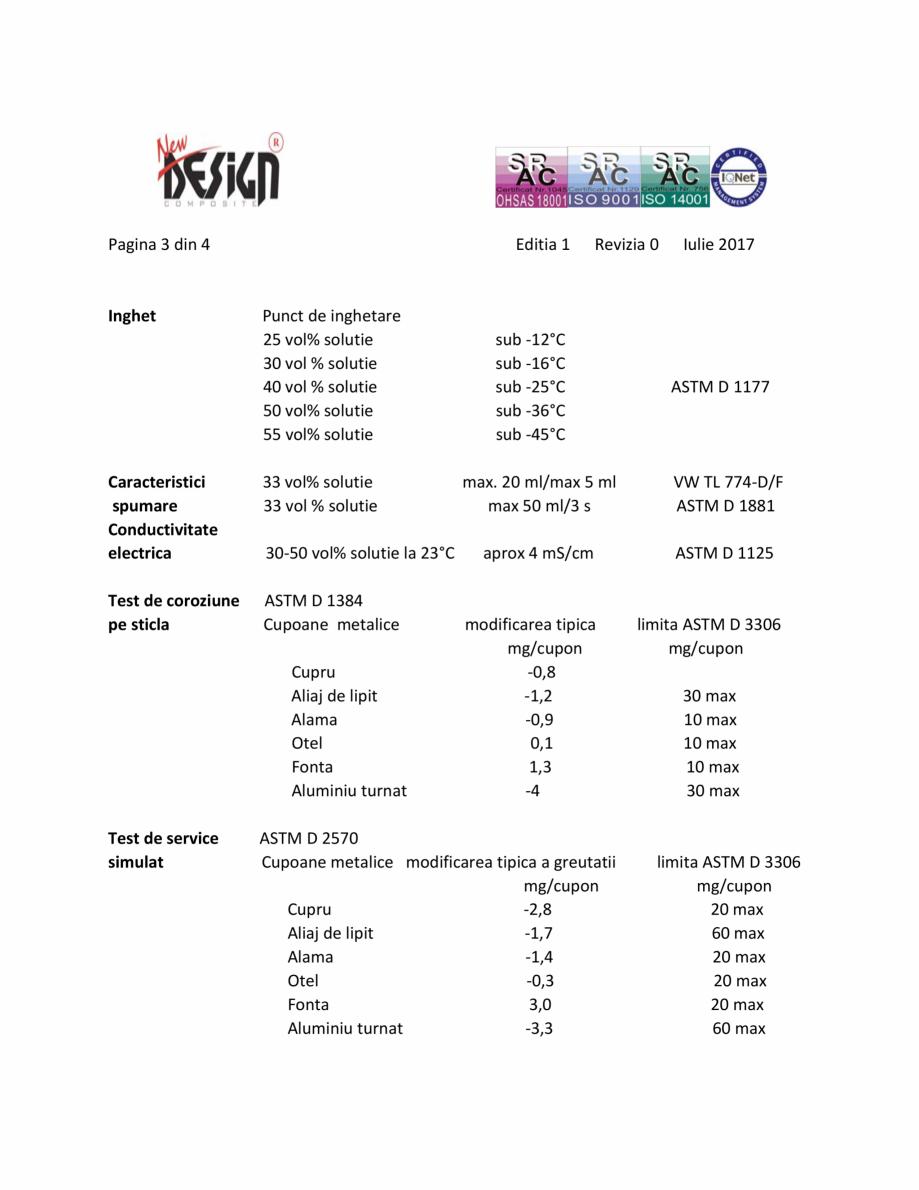 Pagina 3 - Antigel auto NDC 20, Tip D NEW DESIGN COMPOSITE Antigel tip D Fisa tehnica Romana ale ale...