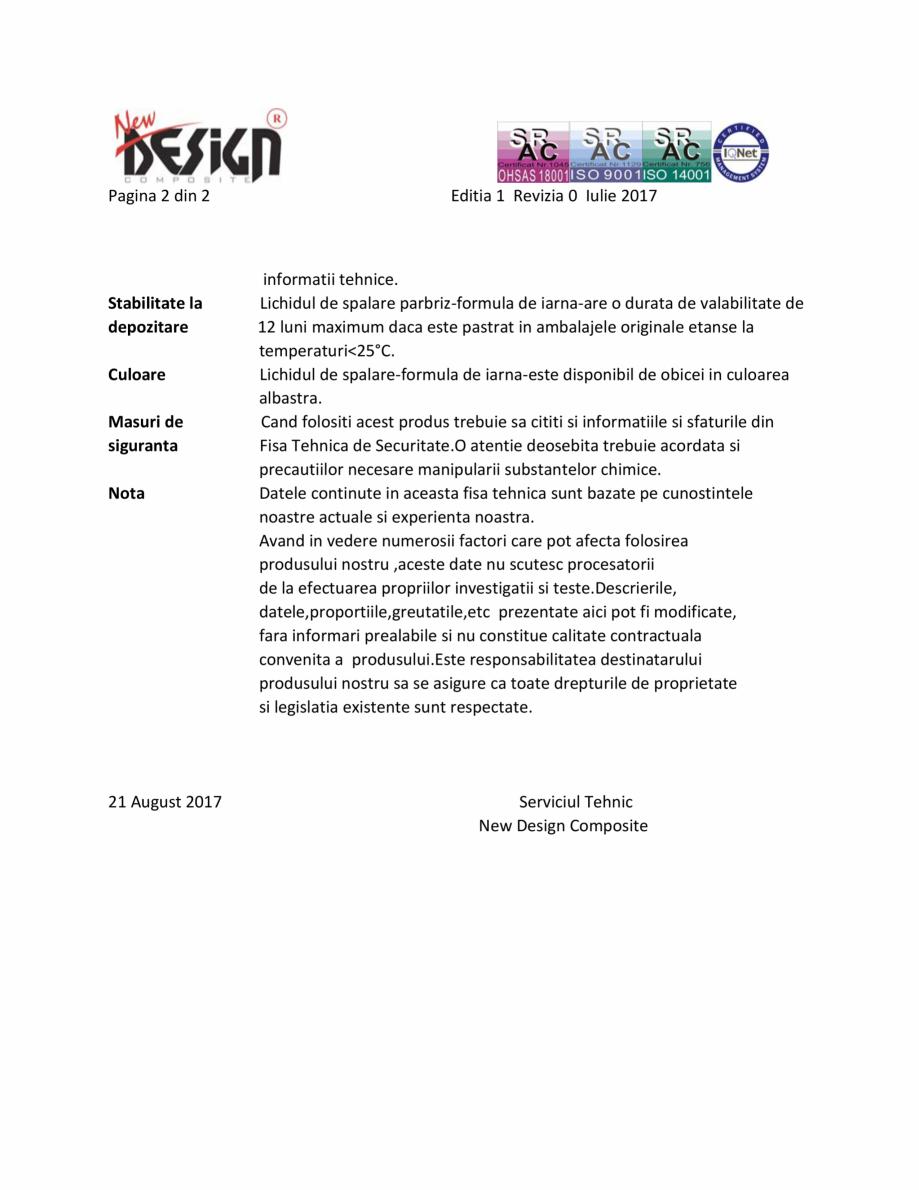 Pagina 2 - Detalii tehnice NEW DESIGN COMPOSITE Lichid parbriz -30 grade Fisa tehnica Romana ci...