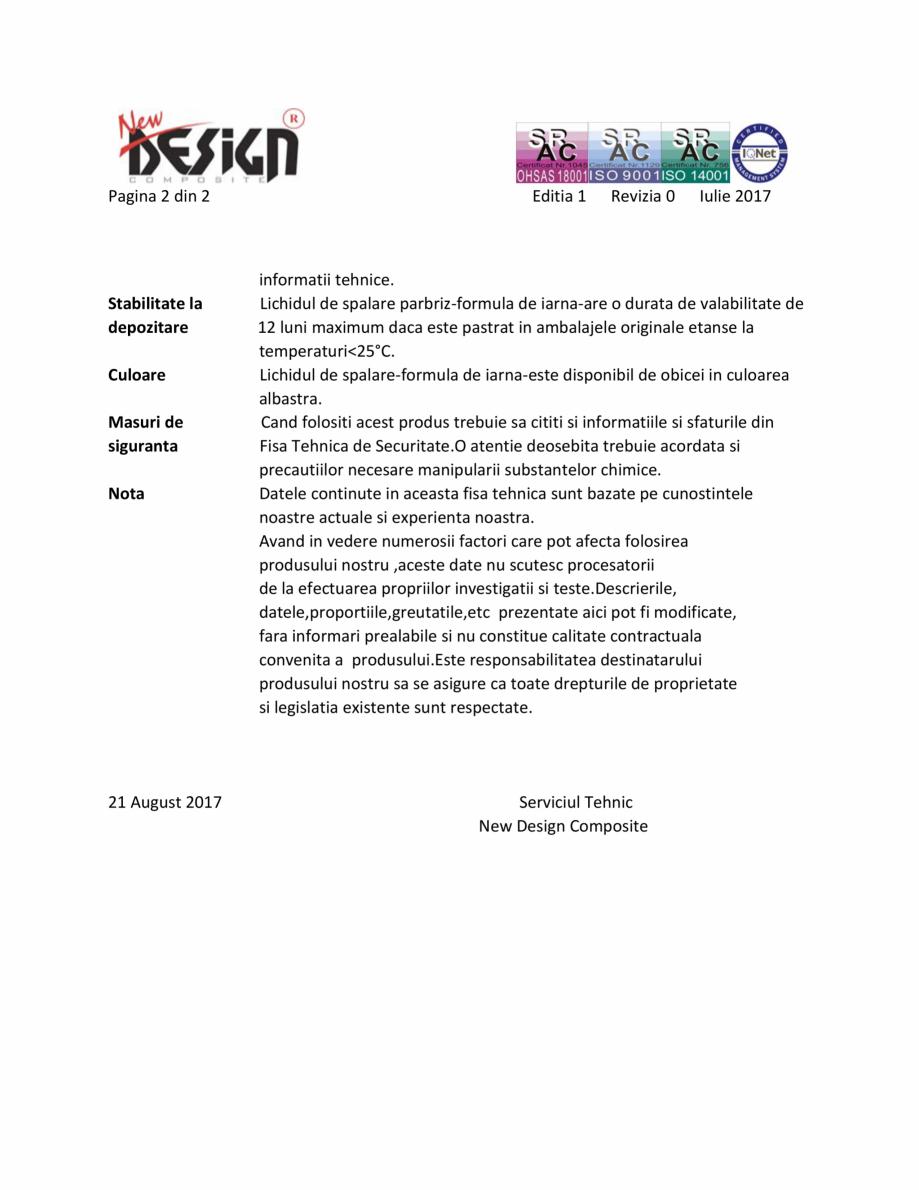 Pagina 2 - Detalii tehnice NEW DESIGN COMPOSITE Lichid parbriz -20 grade Fisa tehnica Romana tici...