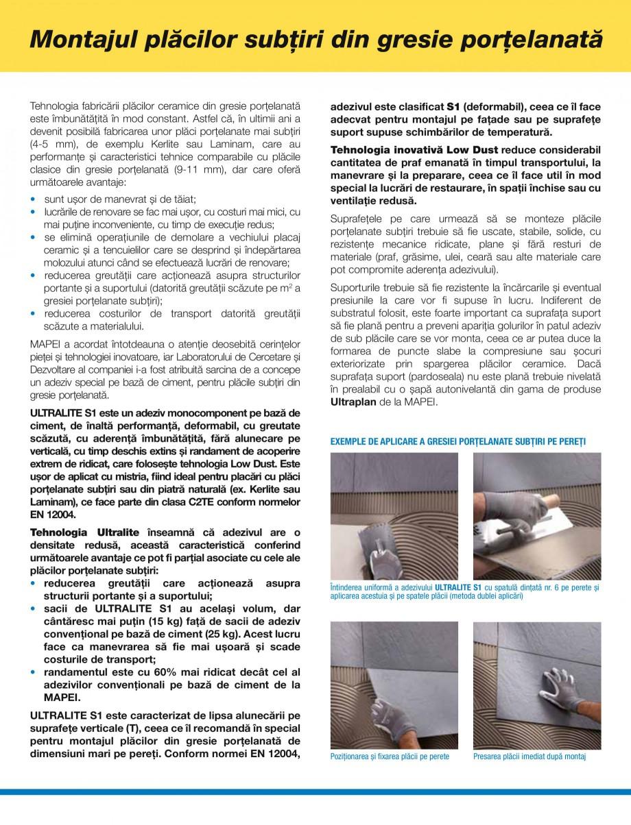 Pagina 2 - Montajul placilor subtiri din gresie portelanata MAPEI ULTRALITE S1 Instructiuni montaj...