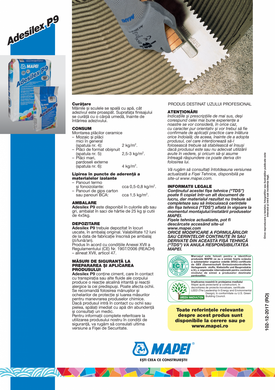 Pagina 4 - Adeziv imbunatatit pe baza de ciment de inalta performanta, fara alunecare pe verticala...