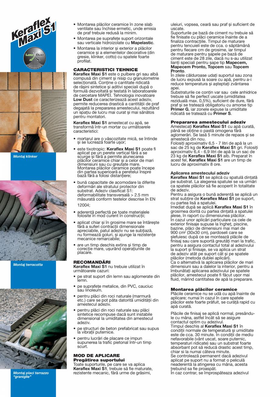 Pagina 2 - Adeziv pe baza de ciment, de inalta performanta, deformabil, cu timp deschis extins, fara...