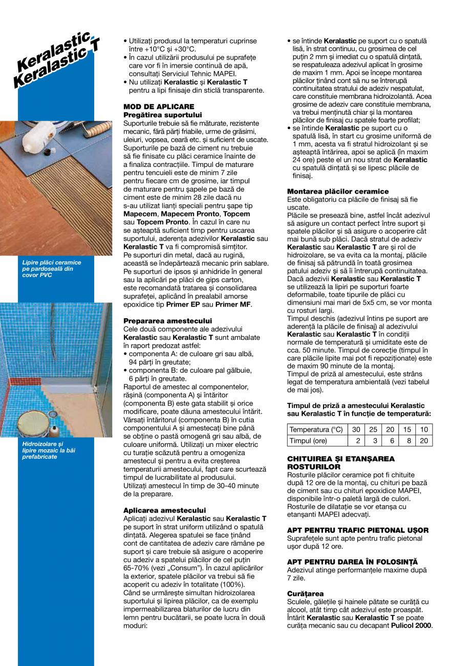 Pagina 2 - Adezivi poliuretanici bicomponenti, de inalta performanta pentru placi ceramice si placi ...