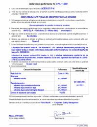 Declaratie de performanta - Adeziv imbunatatit pe baza de ciment pentru placi ceramice