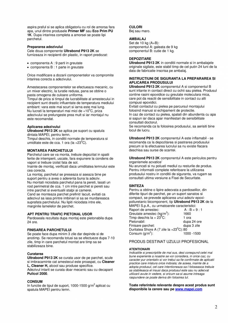Pagina 2 - Adeziv epoxi-poliuretanic bicomponent pentru pardoseli din lemn MAPEI ULTRABOND P913 2K...
