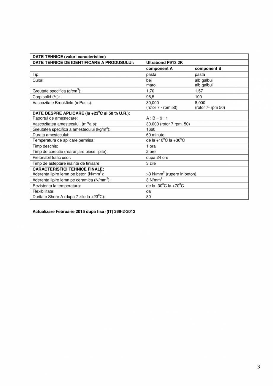 Pagina 3 - Adeziv epoxi-poliuretanic bicomponent pentru pardoseli din lemn MAPEI ULTRABOND P913 2K...