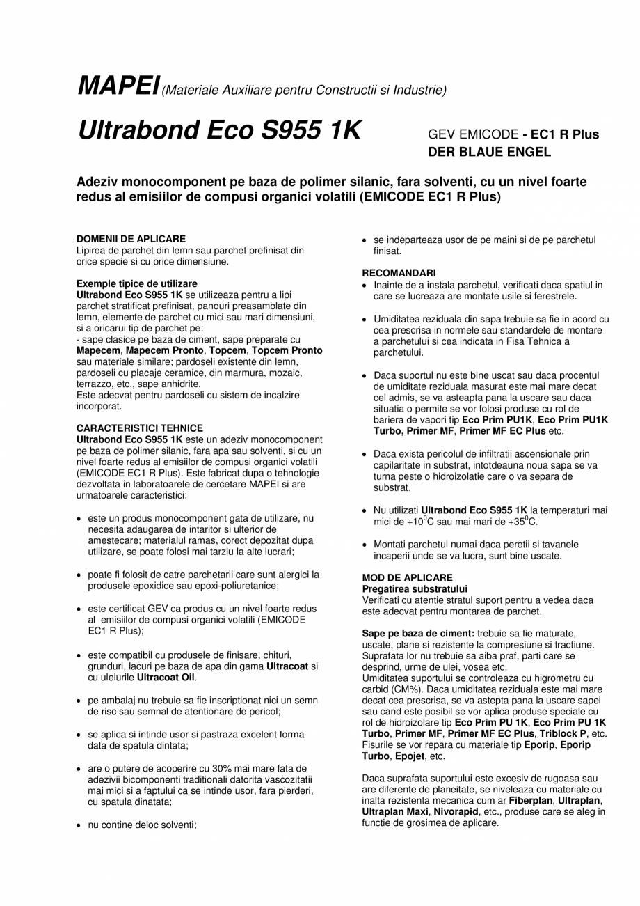 Pagina 1 - Adeziv poliuretanic monocomponent  MAPEI ULTRABOND ECO S955 1K Fisa tehnica Romana MAPEI ...