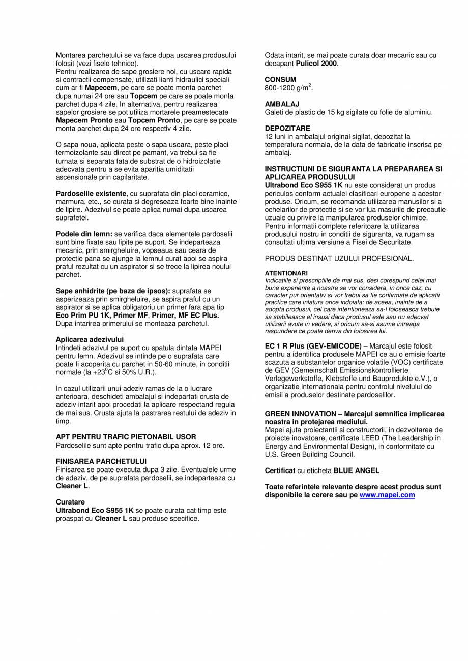 Pagina 2 - Adeziv poliuretanic monocomponent  MAPEI ULTRABOND ECO S955 1K Fisa tehnica Romana olimer...