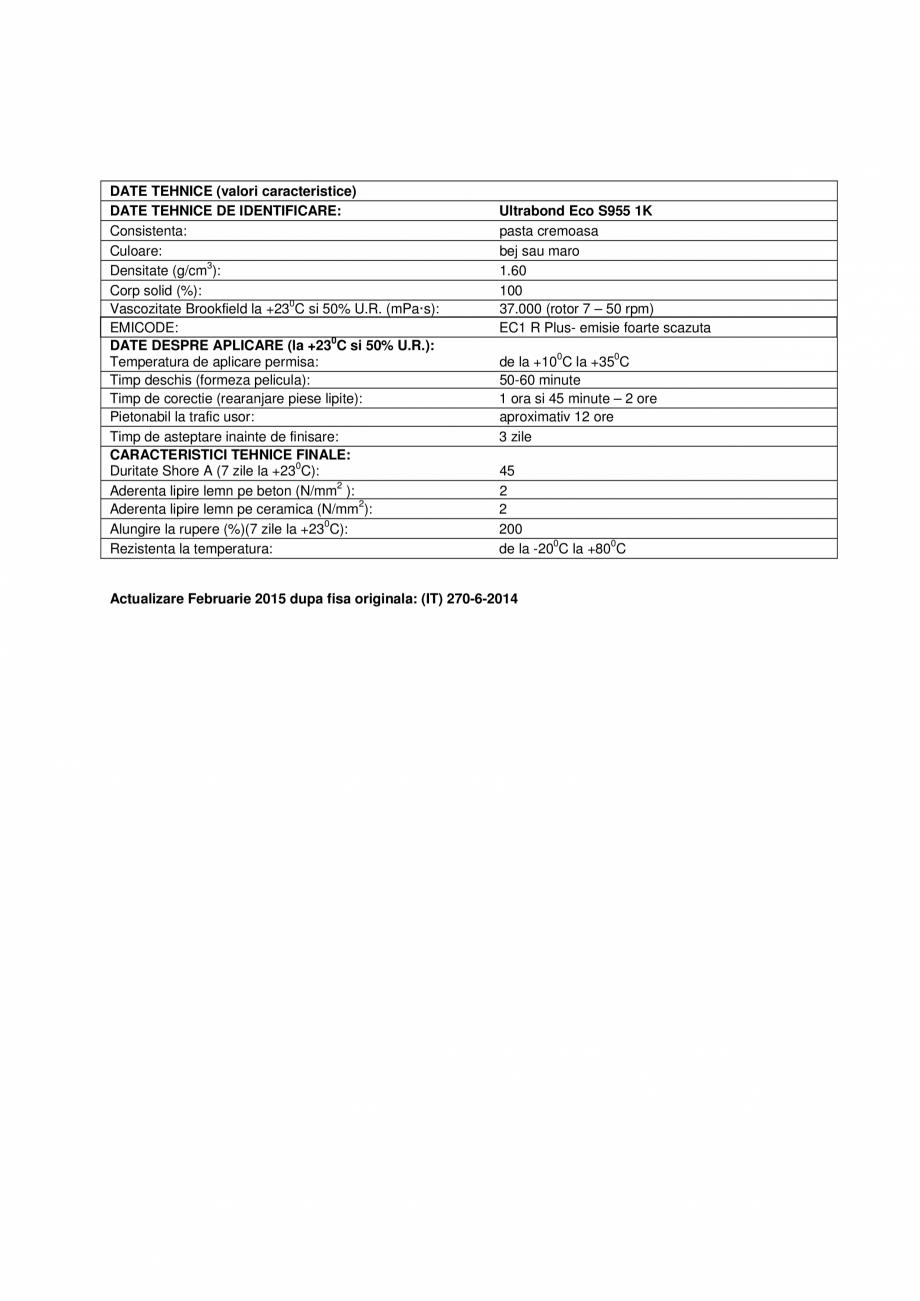Pagina 3 - Adeziv poliuretanic monocomponent  MAPEI ULTRABOND ECO S955 1K Fisa tehnica Romana a...