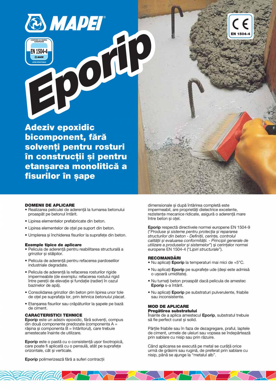Pagina 1 - Adeziv epoxidic bicomponent, fără solvenţi pentru rosturi în construcţii și...