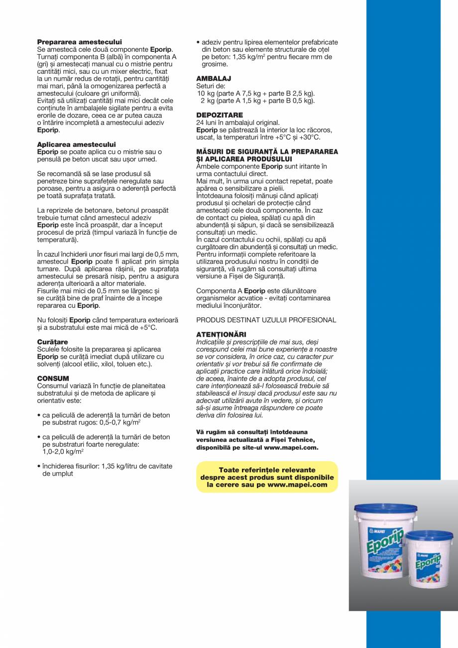 Pagina 3 - Adeziv epoxidic bicomponent, fără solvenţi pentru rosturi în construcţii și...