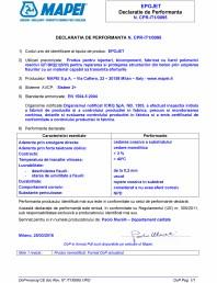 Declaratie de performanta - Produs pentru injectari bicomponent pentru repararea si protejarea structurilor din beton prin