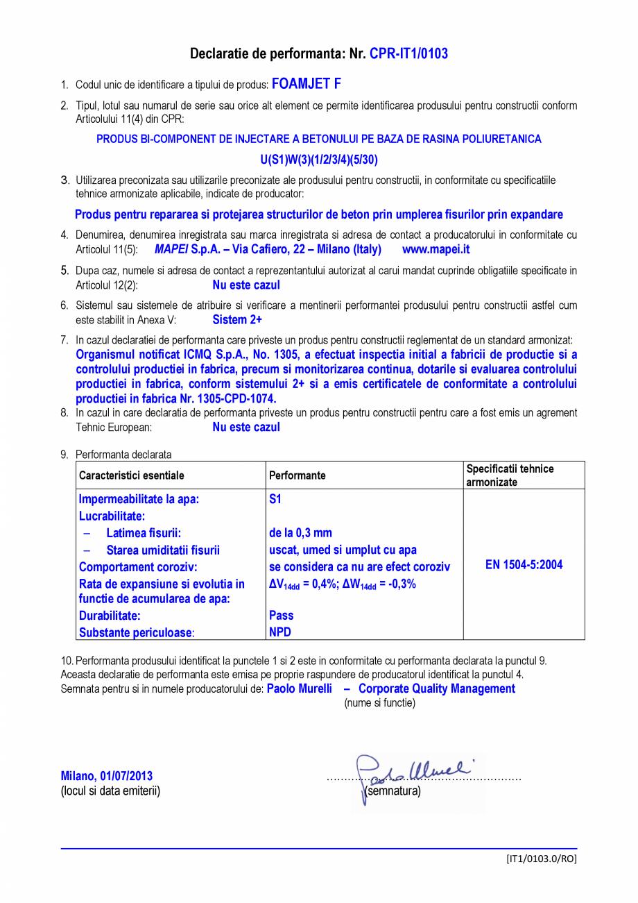 Pagina 1 - Declaratie de performanta - Produs bi-component de injectare a betonului pe baza de...