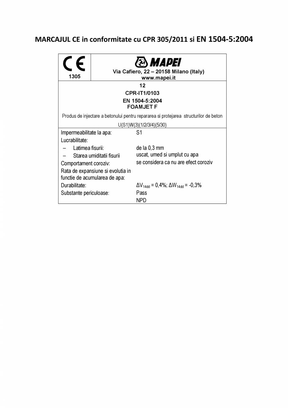 Pagina 2 - Declaratie de performanta - Produs bi-component de injectare a betonului pe baza de...
