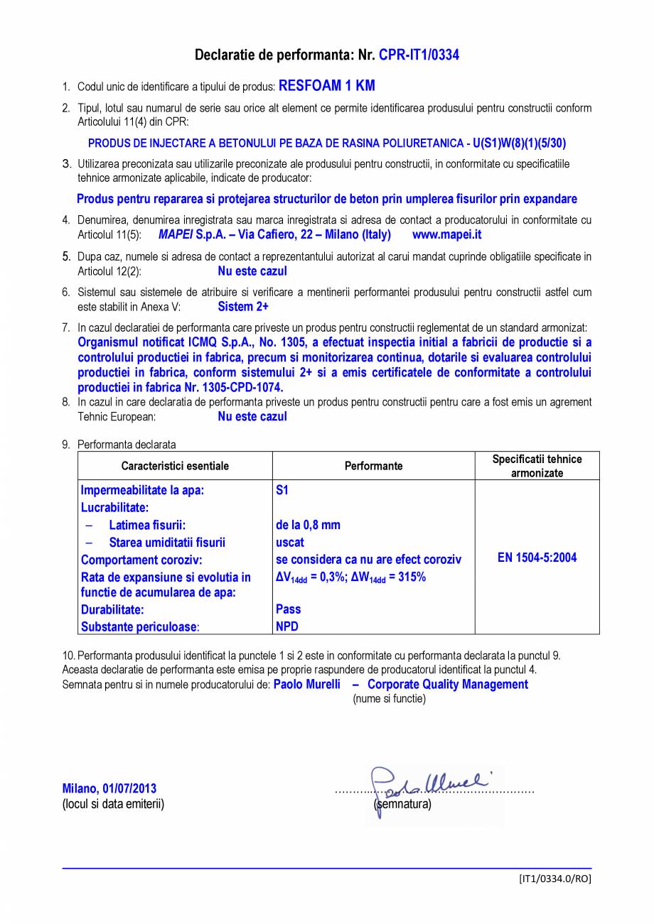 Pagina 1 - Declaratie de performanta - Produs de injectare a betonului pe baza de rasina...